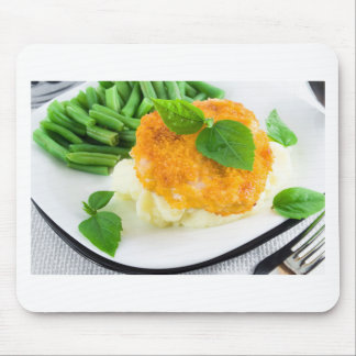 Nuggets of chicken, mashed potatoes and green bean mouse pad