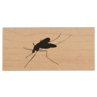 Nuisance Mosquito insect/bug pest Silhouette Wood USB 2.0 Flash Drive