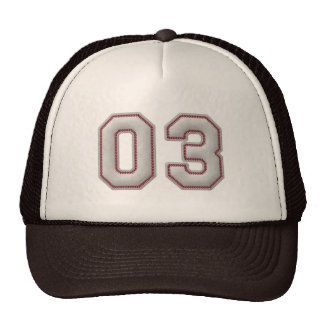 Number 03 with Cool Baseball Stitches Look Cap