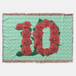 Number 10 10th birthday red roses floral blanket