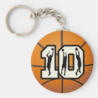 Number 10 Basketball and Players Keychains