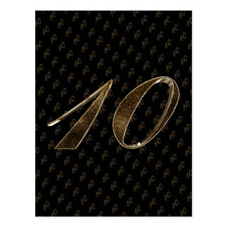 Number 10 Black Gold 10th Wedding Anniversary Postcard