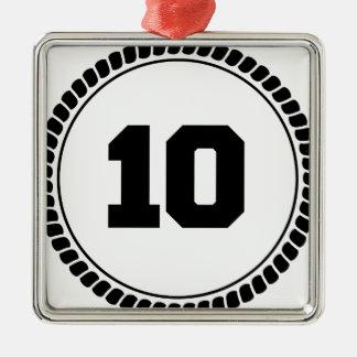 Number 10 circle metal ornament