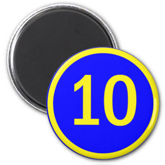 number 10 in a circle 6 cm round magnet