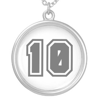 Number 10 silver plated necklace