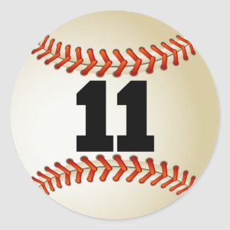 Number 11 Baseball Classic Round Sticker