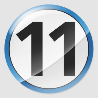 Number 11  blue sticker