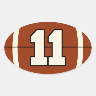Number 11 Football Sticker. Oval Sticker