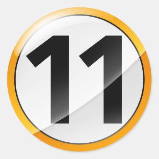 Number 11 gold sticker