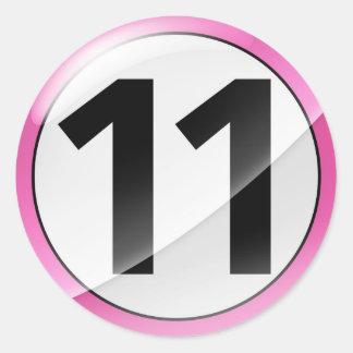 Number 11  pink sticker