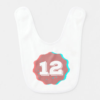 Number 12 Badge Baby Bib