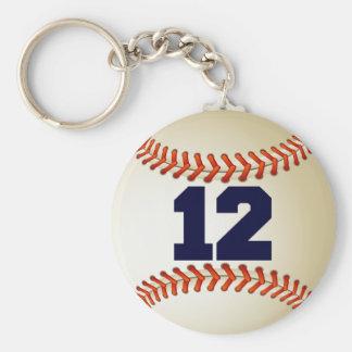 Number 12 Baseball Key Ring