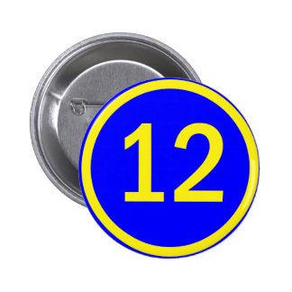 number 12 in a circle 6 cm round badge