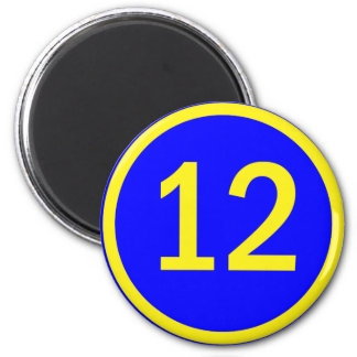 number 12 in a circle refrigerator magnets