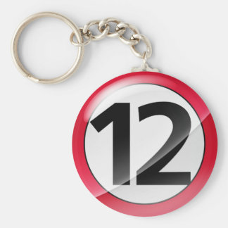Number 12 red Key Chain