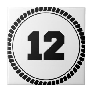 Number 12 small square tile