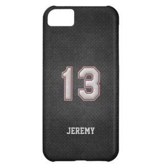 Number 13 Baseball Stitches with Black Metal Look iPhone 5C Case