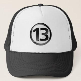 Number 13 black trucker hat