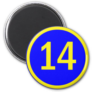 number 14 in a circle 6 cm round magnet