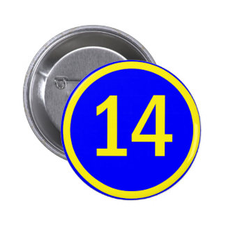 number 14 in a circle 6 cm round badge