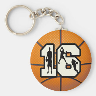 Number 16 Basketball and Players Key Ring