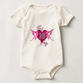 Number 16 in checkers with butterflies baby bodysuit