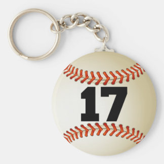 Number 17 Baseball Key Ring