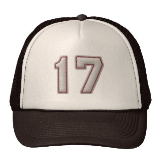 Number 17 with Cool Baseball Stitches Look Cap
