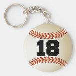 Number 18 Baseball Keychain