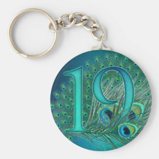 Number 19 / age / years / 19th birthday template basic round button key ring