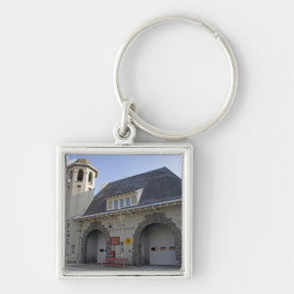 Number 19 Engine House in Washington, D.C. Silver-Colored Square Key Ring