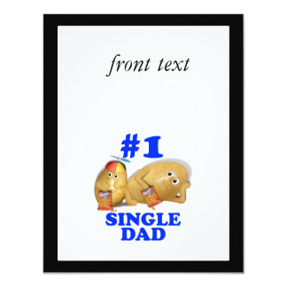 Number 1 (#1) Single Dad - Father & Son Potatoes 4.25x5.5 Paper Invitation Card