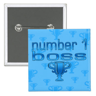 Number 1 Boss in Blue Pinback Buttons