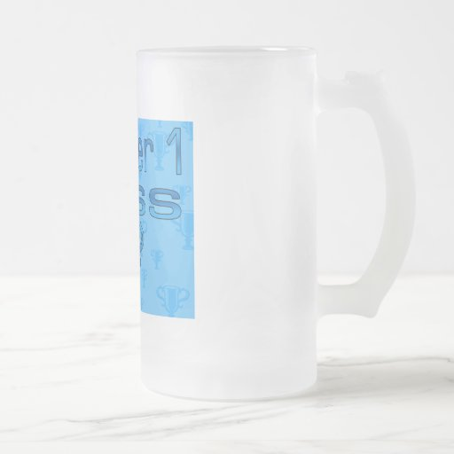 Number 1 Boss in Blue Frosted Glass Mug