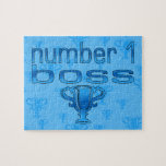 Number 1 Boss in Blue Jigsaw Puzzle
