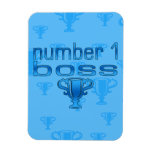 Number 1 Boss in Blue Vinyl Magnets