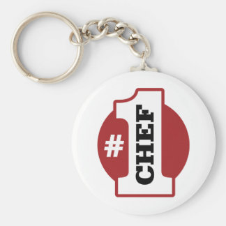 Number 1 Chef Basic Round Button Key Ring
