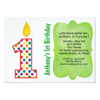 Number 1 Colorful Polka Dot Birthday Invitation
