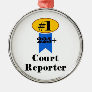Number 1 Court Reporter Silver-Colored Round Decoration