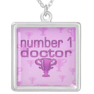 Number 1 Doctor in Pink Silver Plated Necklace
