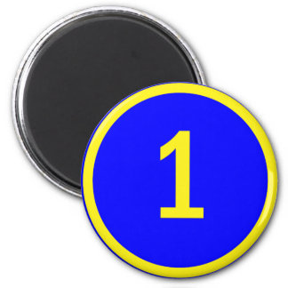 number 1 in a circle 6 cm round magnet