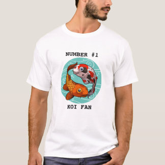 Number 1 Koi Fan Two Koi Carp Swimming Cartoon T-Shirt