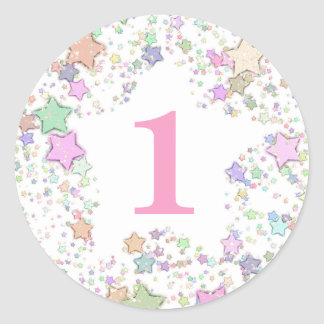 Number 1 ONE First Birthday Pastel Stars Classic Round Sticker