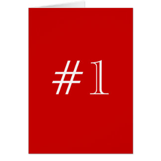 Number 1. Red and White. Custom Card