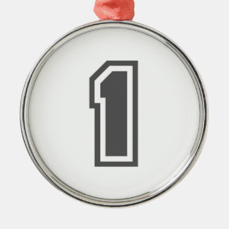 Number 1 Silver-Colored round decoration