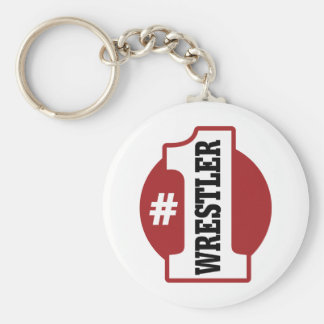 Number 1 Wrestler Basic Round Button Key Ring