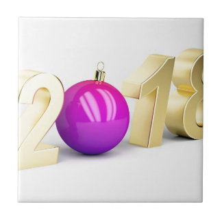 Number 2018 with Christmas ball Ceramic Tile