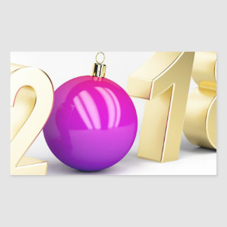 Number 2018 with Christmas ball Rectangular Sticker