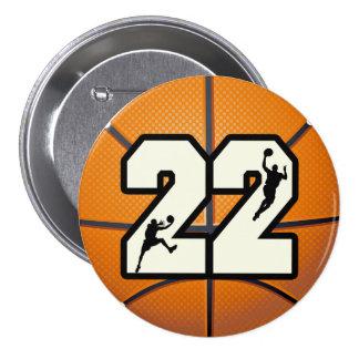 Number 22 Basketball 7.5 Cm Round Badge