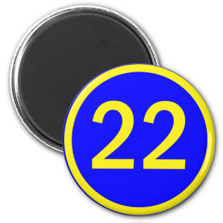 number 22 in a circle 6 cm round magnet